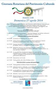 2013-14: La locandina della 'Giornata Rotariana del Patrimonio Culturale'