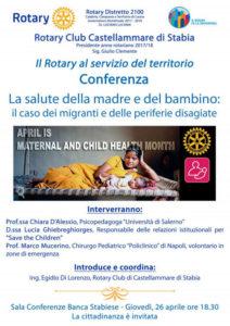 2017-18: Locandina della Conferenza su 'La salute della madre e del bambino'