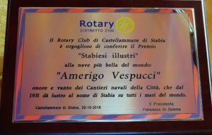2018-19: Il premio 'Stabiesi illustri' alla nave scuola Amerigo Vespucci